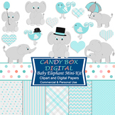 Boy Baby Elephant Clipart and Digital Papers