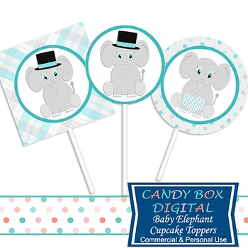 Boy Baby Elephant Cupcake Toppers and Stickers