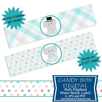 Baby Boy Elephant Water Bottle Labels and Napkin Wraps for