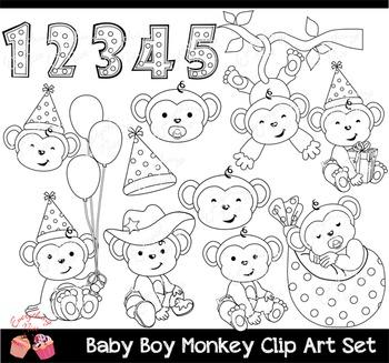Baby Boy Monkey Clip Art Set