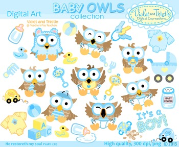 Baby Boy Owls Clipart Clip Art Blue and Yellow