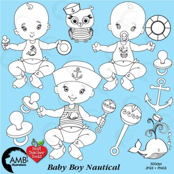 Baby Boy Stamps Clipart, Baby Boy Clip Art Outlines, AMB-1131