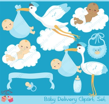 Baby Boy Stork Delivery Clipart Set