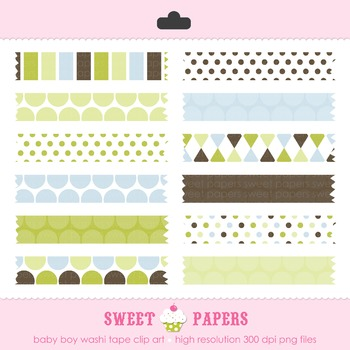 Baby Boy Washi Tape Digital Clip Art Set - by Sweet Papers