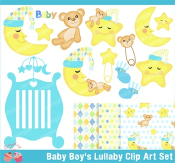 Baby Boy's Lullaby Clipart Set