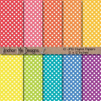 Baby Bright Polka Dot Digital Papers