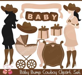 Baby Bump Cowboy Clipart Set