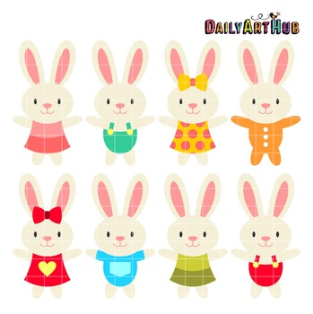 Baby Bunnies Clip Art - Great for Art Class Projects!