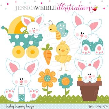 Baby Bunny Boys Cute Digital Clipart, Easter Bunny Clip Art