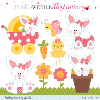 Baby Bunny Girls Cute Digital Clipart, Easter Bunny Clip Art