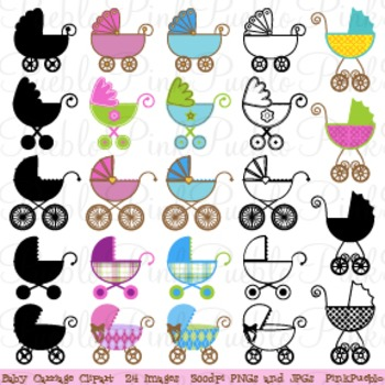 Baby Carriage and stroller Clip Art - Commercial and Personal