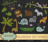 Baby Chalkboard Zoo Animals Clipart