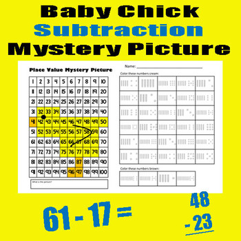 Baby Chick Subtraction Math Mystery Picture - 11x17 - Good For Spring & Easter