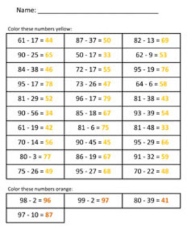 Baby Chick Subtraction Math Mystery Picture - 8.5x11 - Good For Spring & Easter
