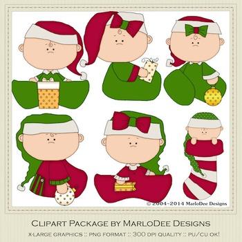 Baby Christmas Holiday 2 Clip Art Graphics Set 1