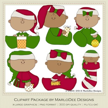 Baby Christmas Holiday 2 Clip Art Graphics Set 2 African American Babies