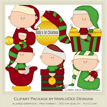 Baby Christmas Holiday Ornaments Clip Art Graphics Set 1