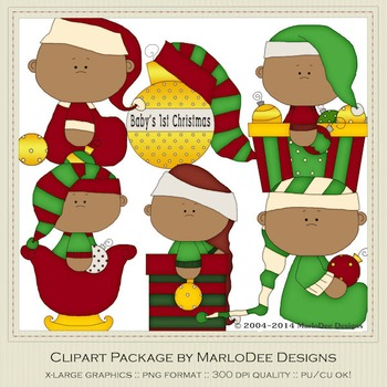 Baby Christmas Holiday Ornaments Clip Art Graphics Set 2 African American