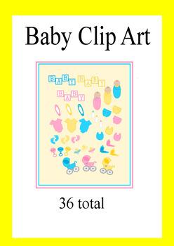 Baby Clip Art- Bottle, Diaper, Bib, Baby Carriage, Onesies, Baby Feet Clip Art
