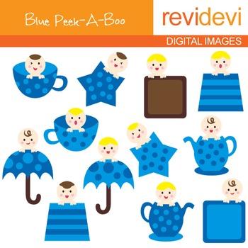 Baby Clip art (blue peek-a-boo) polkadot