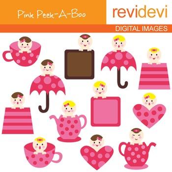 Baby Clip art (pink peek-a-boo)