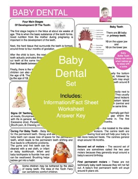Baby Dental Content Sheet, Worksheet and Answer Key
