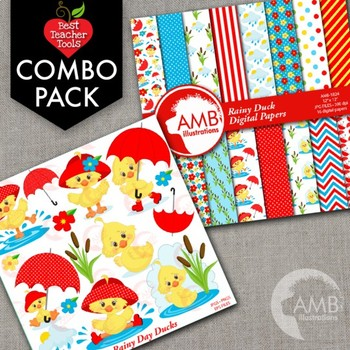 Baby Duck Clipart Digital Papers Combo Bundle AMB 1721