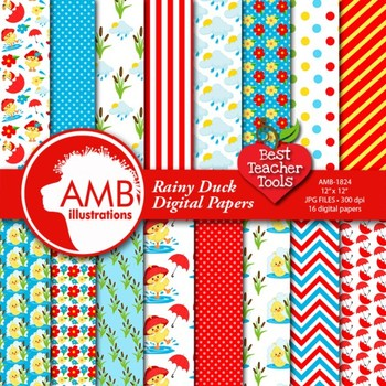 Baby Duck Clipart & Digital Papers Combo Bundle {Best Teacher Tools} AMB-1721