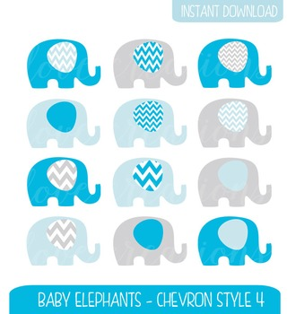 Baby Elephant Clip Art Chevron Style - Baby Blue, Grey, Blue