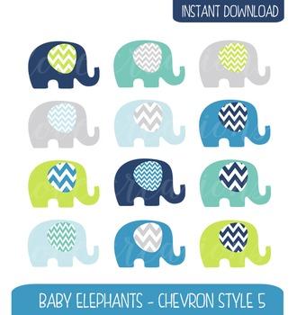 Baby Elephant Clip Art Chevron Style - Navy, Citrus, Baby Blue, Grey