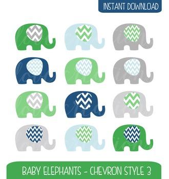 Baby Elephant Clip Art Chevron Style - Navy, Green and Grey
