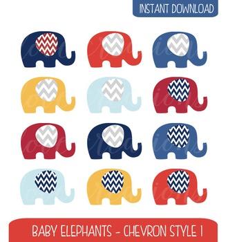 Baby Elephant Clip Art Chevron Style - Navy, Red, Yellow, Baby Blue