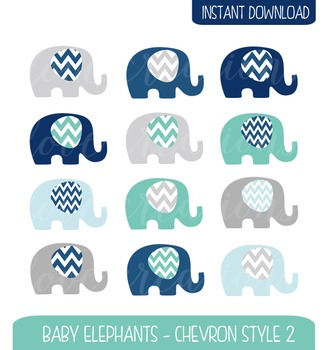 Baby Elephant Clip Art Chevron Style - Navy, Turquoise, Baby Blue and Grey