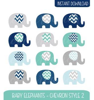 Baby Elephant Clip Art Chevron Style - Navy, Turquoise, Ba