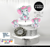 Baby Elephant centerpiece,Pink Elephant clip art,watercolo