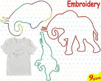 Baby Elephant jungle animal Embroidery Machine digital file 4x4 5x7 hoop 84b