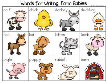 Baby Farm Animals - Writing Center