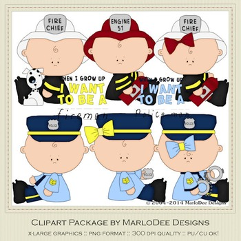 Baby Fire & Police Clip Art Graphics Set 1