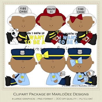 Baby Fire & Police Clip Art Graphics Set 2 African American Babies