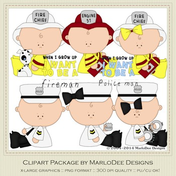 Baby Fire & Police Clip Art Graphics Set 3
