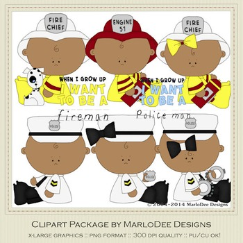 Baby Fire & Police Clip Art Graphics Set 4 African American Babies