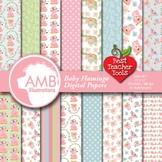 Baby Flamingo Digital Papers, Pink Flamingos, DYI Clipart Kit, AMB-2471