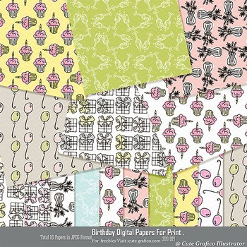 Birthday Digital Papers ,Digital Scrap kits ,  Digital Papers