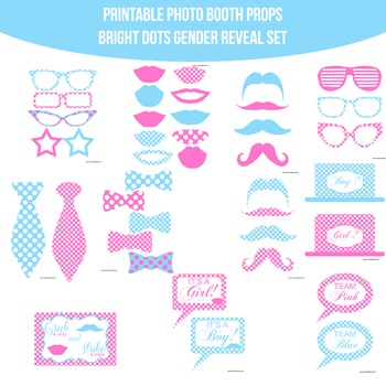 Baby Gender Reveal Bright Chevron Printable Photo Booth Prop Set