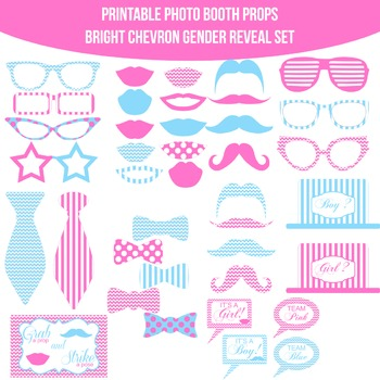 Baby Gender Reveal Bright Dots Printable Photo Booth Prop Set Tpt