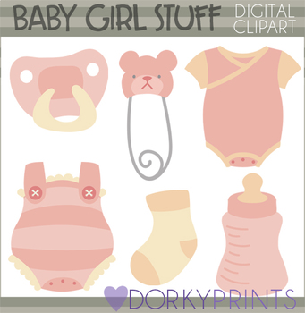 Baby Girl Clip Art - Baby Clothes and Socks