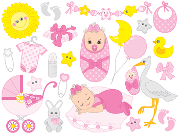 Baby Girl Clipart Digital Vector Baby Girl Newborn By The Creative Mill
