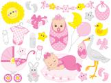 Baby Girl Clipart - Digital Vector Baby Girl, Newborn