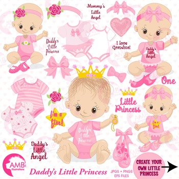 Baby Girl Clipart, Nursery Clipart, Baby Clip Art, AMB-1293