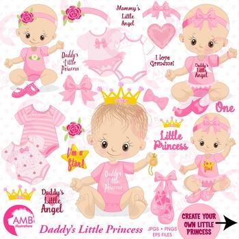 Baby Girl Clipart, Nursery Clipart, Baby Clip Art, AMB-1293